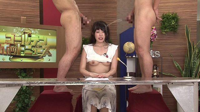 黒木いくみ 生放送中の女子アナがチンポを咥えさせられオシッコをぶっかけられる動画 画像